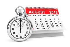 August 2016 Kalender mit Stoppuhr Wiedergabe 3d Lizenzfreie Stockbilder