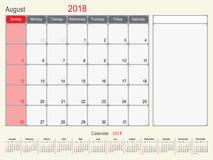 August 2018 Kalender-Planer-Design Stockfotografie