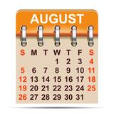 August-Kalender von 2018-jährigem - Lizenzfreie Stockfotos