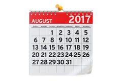 August 2017 Kalender, Wiedergabe 3D Lizenzfreies Stockfoto