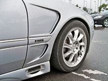 August 18, 2010, Kiev, Ukraine. Grey Mercedes-Benz CL 500 Lorinser. Car tires. Car wheel close-up royalty free stock images