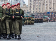 August 24, 2016. Kyiv, Ukraine. Military parade for the Ukrainia. August 24, 2016. Kyiv, Ukraine Military parade for the Ukrainian Independence Day Royalty Free Stock Photo