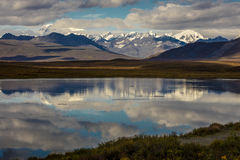 AUGUST 26, 2016 - Lakes of Central Alaskan Range - Route 8, Denali Highway, Alaska,a dirt road offers stunning views of Mnt. Hess. Mountain, & Mt. Hayes and Mnt Stock Photos