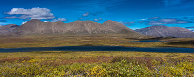 AUGUST 26, 2016 - Lakes of Central Alaskan Range - Route 8, Denali Highway, Alaska,a dirt road offers stunning views of Mnt. Hess. Mountain, & Mt. Hayes and Mnt Royalty Free Stock Image