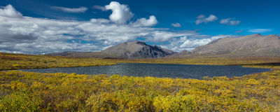 AUGUST 26, 2016 - Lakes of Central Alaskan Range - Route 8, Denali Highway, Alaska,a dirt road offers stunning views of Mnt. Hess  Stock Photo