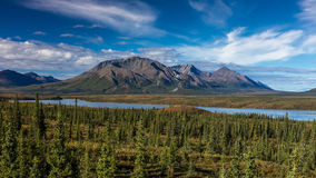 AUGUST 26, 2016 - Lakes of Central Alaskan Range - Route 8, Denali Highway, Alaska,a dirt road offers stunning views of Mnt. Hess  Stock Photography