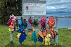 August 24, 2016 - Lifejackets save lives, warning on lake, outside of Anchorage, Alaska royalty free stock photo