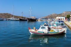 23. August 2017 - Lipsi-Insel, Griechenland - der malerische Hafen von Lipsi-Insel, Dodecanese, Griechenland Stockfotos