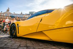 Yellow Pagani Zonda Supercar in London Royalty Free Stock Photos