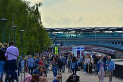 Crowed Summer Day on the South Bank of London royalty free stock photo