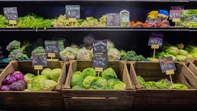 August 9, 2016 - Los Angeles, USA : Fresh vegetable stall of greengrocery in Grand Central Market, famous food place in downtown L. A Stock Images