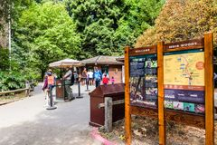 August 10, 2018 Mill Valley / CA / USA - Information panels and rangers welcoming visitors to Muir Woods National Monument, the. Visitor Center building visible stock photo