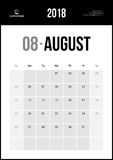 AUGUST 2018. Minimalist Wall Calendar. Modern and Clean Minimalist Wall Calendar Stock Photos