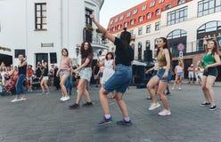 August 4, 2018 Minsk Belarus Street festivities in the evening city stock image