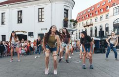 August 4, 2018 Minsk Belarus Street festivities in the evening city stock photography