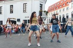 August 4, 2018 Minsk Belarus Street festivities in the evening city stock images