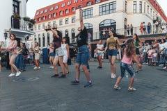 August 4, 2018 Minsk Belarus Street festivities in the evening city royalty free stock photo