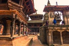18. August 2014 - Mitte von Bhaktapur, Nepal Lizenzfreies Stockfoto