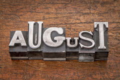 August month in metal type Royalty Free Stock Photos