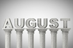 August month sign on a classic columns Stock Photography