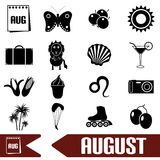 August month theme set of simple icons eps10 Royalty Free Stock Image