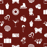 August month theme set of simple icons seamless red pattern eps10 Royalty Free Stock Photo