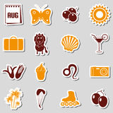 August month theme set of simple stickers Royalty Free Stock Photos