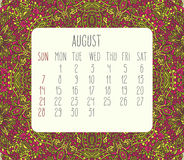 August 2016 monthly calendar. August 2016 vector monthly calendar over lacy doodle hand drawn background, week starting from Sunday Royalty Free Stock Images