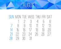 August 2016 monthly calendar Royalty Free Stock Image