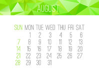 August 2016 monthly calendar. August 2016 vector monthly calendar. Week starting from Sunday. Contemporary low poly design in bright green color Stock Photos