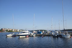 August morning in the bay of Lappeenranta. Finland Royalty Free Stock Photo