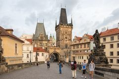 August morning on Charles Bridge in Prague royalty free stock photo