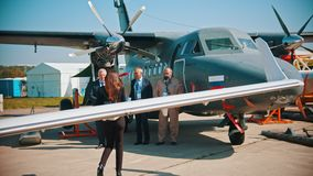 30 AUGUST 2019 MOSCOW, RUSSIA: An outdoors aircraft exhibition - a stock video