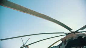 30 AUGUST 2019 MOSCOW, RUSSIA: an outdoors airplane exposition - blades of a helicopter stock footage