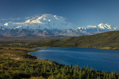 AUGUST 28, 2016 - Mount Denali and Wonder Lake, previously known as Mount McKinley, the highest mountain peak in North America, at Stock Images