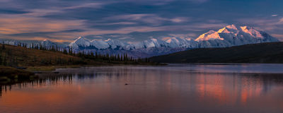 AUGUST 29, 2016 - Mount Denali at Wonder Lake, previously known as Mount McKinley, the highest mountain peak in North America, at  Stock Photos