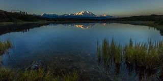 AUGUST 28, 2016 - Mount Denali at Wonder Lake, previously known as Mount McKinley, the highest mountain peak in North America, at  Royalty Free Stock Image