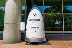 Knightscope security robot branded with the Samsung logo. August 9, 2018 Mountain View / CA / USA - Knightscope security robot branded with the Samsung logo royalty free stock image