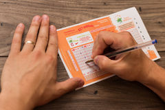 August 2nd, 2017, Cork, Ireland - close up of someone filling out a Euro Millions. Ticket royalty free stock images