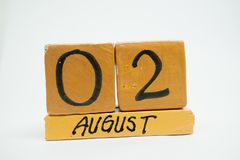 August 2nd. Day 2 of month, handmade wood calendar isolated on white background. summer month, day of the year concept. August 2nd. Day 2 of month, handmade wood stock images