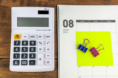 August organizer with calculator Royalty Free Stock Image