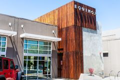 August 8, 2019 Palo Alto / CA / USA - Exterior view of the upscale gym Equinox; Equinox is a subsidiary of Equinox Fitness, an