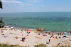 Black Sea, Odessa, Ukraine. August 17, 2017, people at the Black Sea beach in Odessa, Ukraine. Popular touristic european destination royalty free stock image