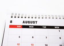 August planning calendar Stock Image