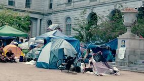 Homeless People Gather in Front of Portland, Maine City Hall