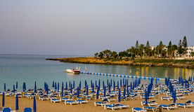 August 2, 2017.Protaras.Chairs with umbrellas on the beach in Fig tree Bay in Protaras .Cyprus. Fig Tree Beach Cyprus Stock Photography