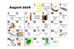 August 2018 Quirky Holidays and Unusual Events Stock Photography