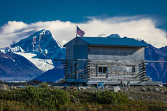 AUGUST 27, 2016 - Remote Cabin along Denali Highway, Route 8, offers views of Mt.Deborah, Mnt. Hess Mountain, & Mt. Hayes Alaska,  Stock Photography