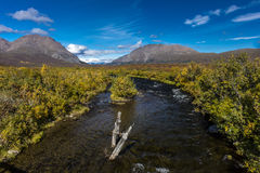 AUGUST 26, 2016 - Running Creek in Central Alaskan Range - Route 8, Denali Highway, Alaska,a dirt road offers stunning views of Mn Royalty Free Stock Images