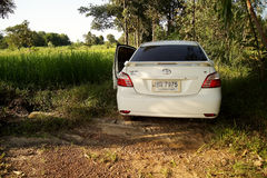 17 AUGUST 2016 SAKONNAKHON, THAILAND;, personal car parked in a forest in remote rural areas. In the North East of the country. Thailand Sakon Nakhon province Stock Photos